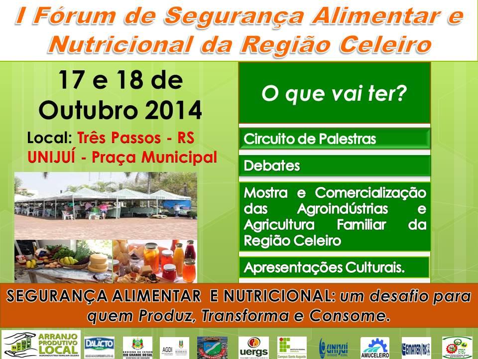 I FÓRUM DE SEGURANÇA ALIMENTAR NUTRICIONAL DA REGIÃO CELEIRO