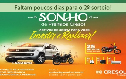 Cresol realizará 2º sorteio da campanha Sonho de Prêmios