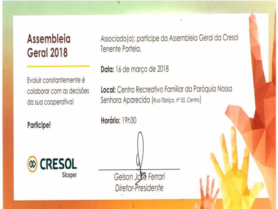 Participe da Assembléia Geral 2018, da Cresol de Tenente Portela